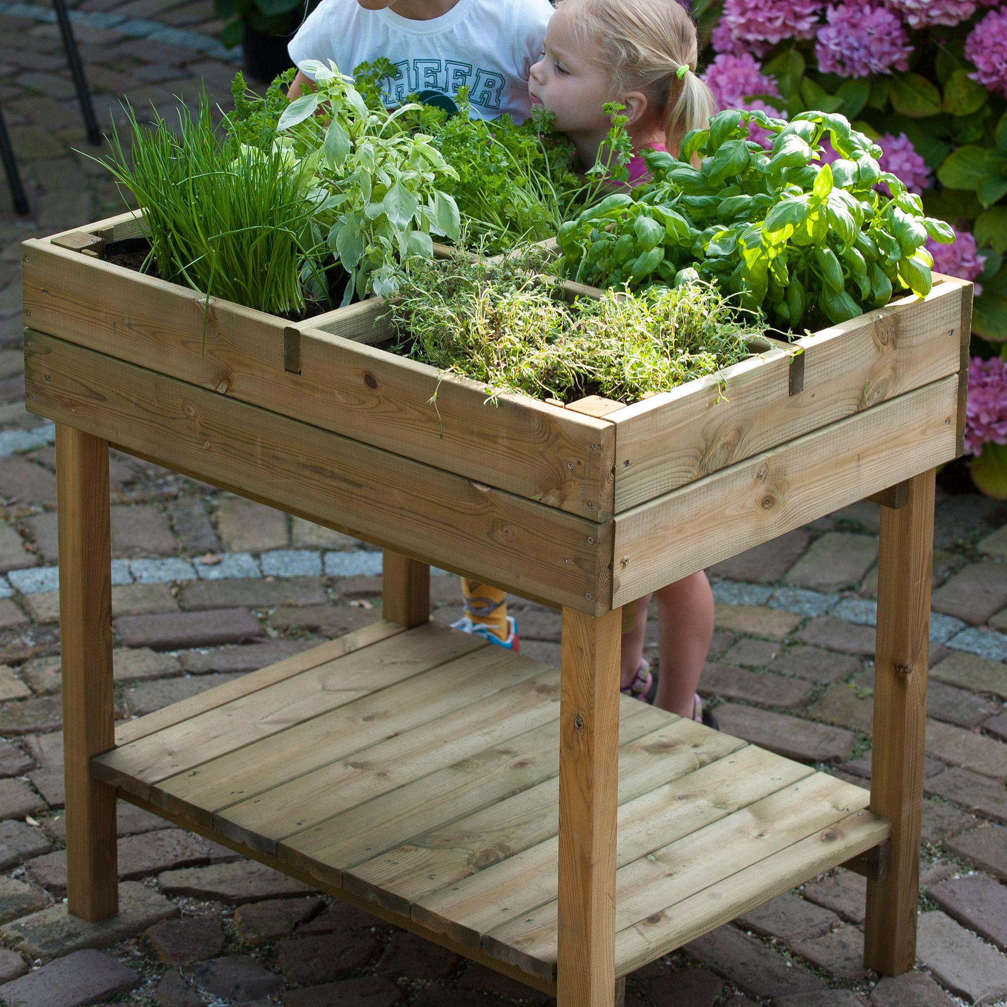 Carr potager en bois sur pied culture et plantation for Carre potager sur balcon