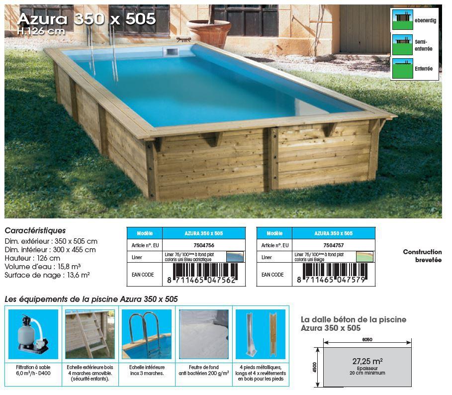 Piscine azura rectangulaire 3 50m x 5 05m jardinet for Budget piscine bois