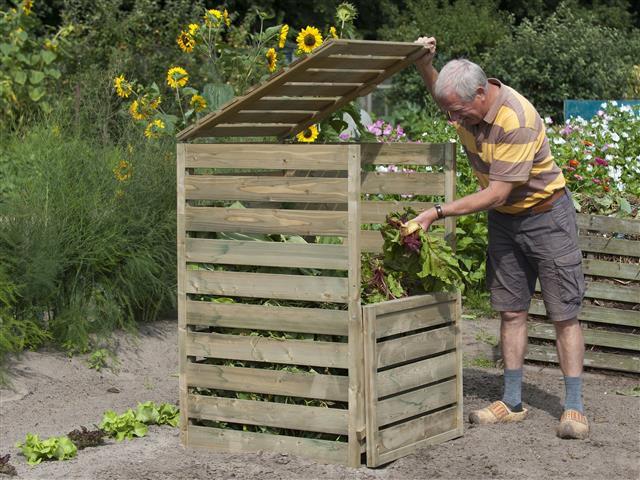 Composteur de jardin en bois jardinet for Fabrication mobilier de jardin en bois